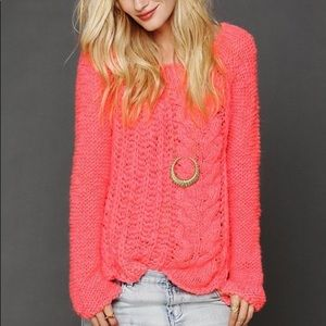 Free People Neon Pink Knit Sweater